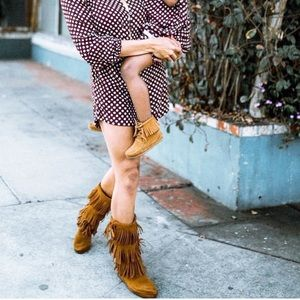 Minnetonka- Brown Suede 3-Layer Fringe Boot - New!